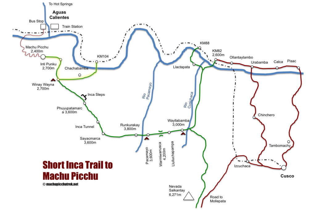 short-inca-trail-to-machu-picchu-map
